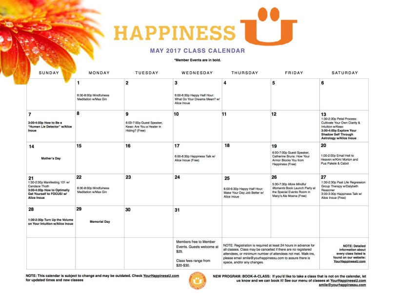 Happiness U classes May 2017 Calendar
