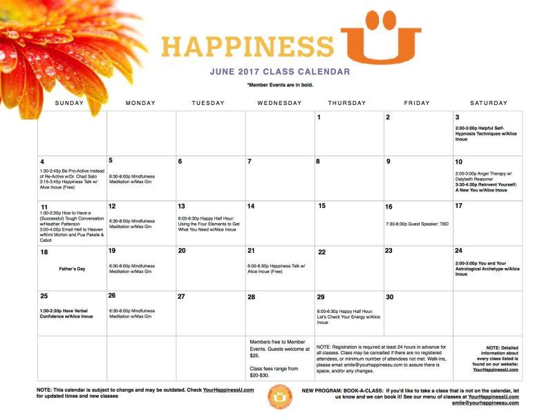 Happiness U classes June 2017 Calendar