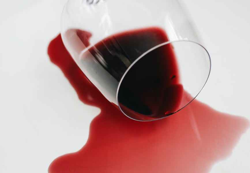 spilled red wine from a glass