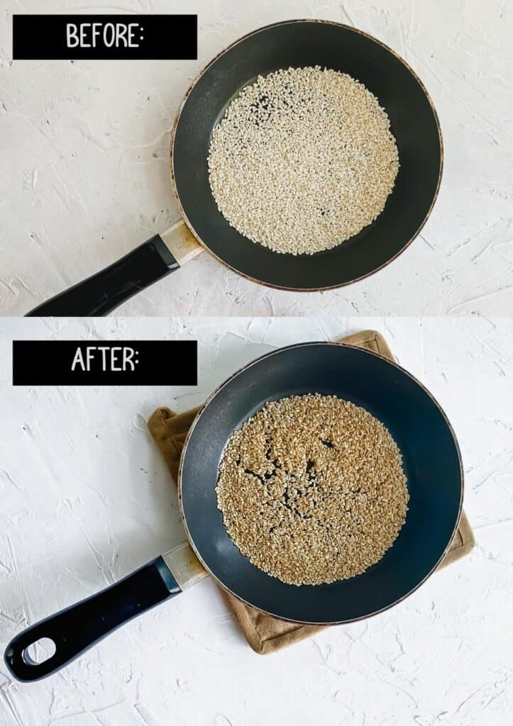 sesame seeds in a small skillet before and after toasting