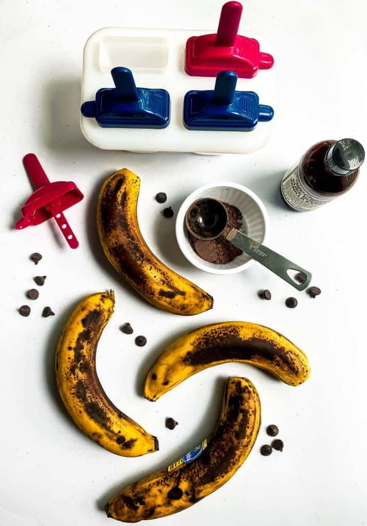 bananas and other ingredients for healthy chocolate popsicles