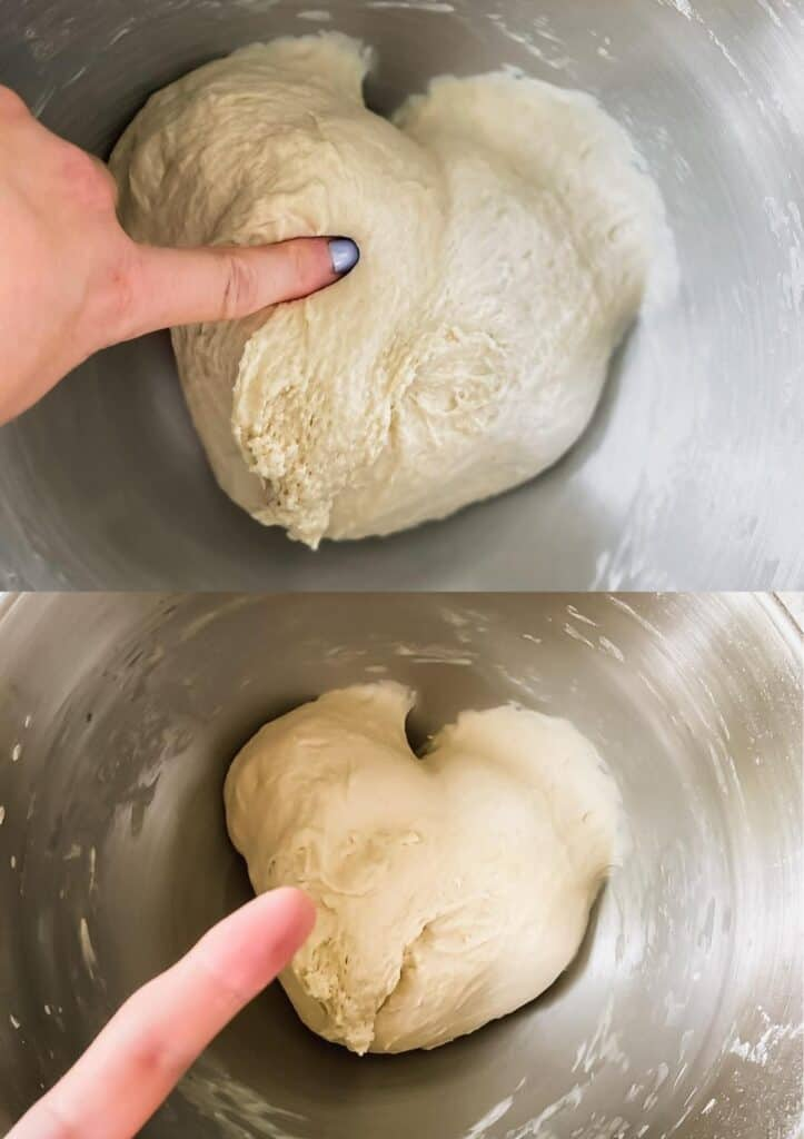 sticking a finger in pizza dough to make sure the dough doesn't stick