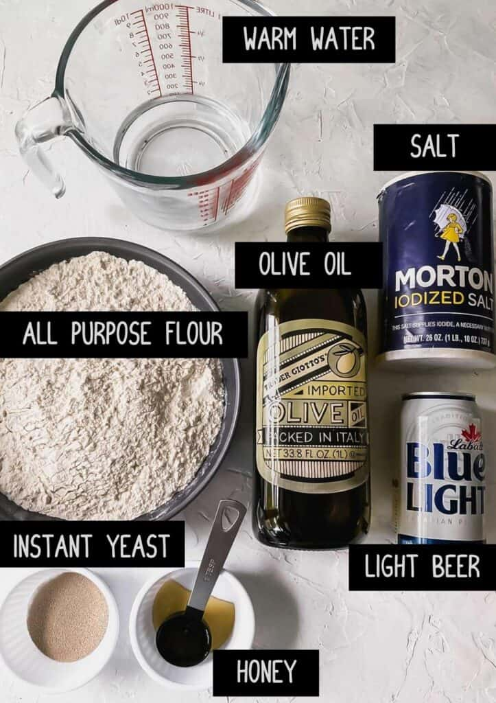 ingredients for no knead sheet pan pizza