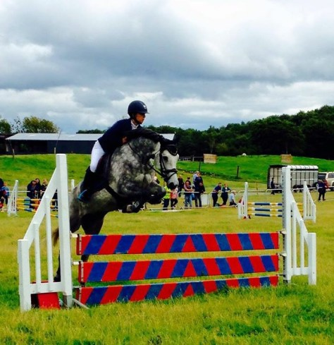 Grey pony jumping a fence at a competition