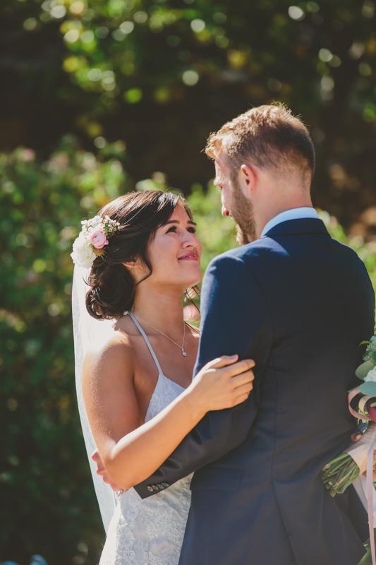 first look wedding photo