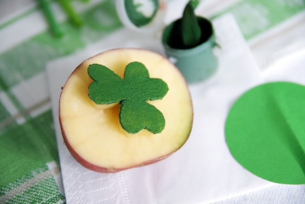 Happy clover potato stamp for St-Patrick's decoration