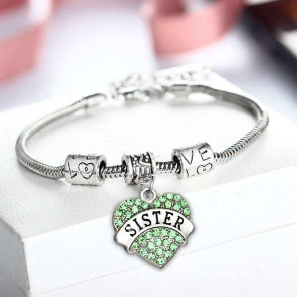 bracelet-ladies-sister-green-crystals-charm-heart