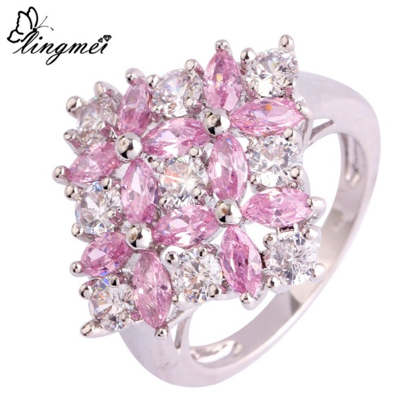 ring-ladies-sterling-silver-plated-flower-cluster-pink-topaz