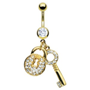body-jewellery-navel-ring-surgical-steel-14kt-gold-plated-lock-key-gem-pave-dangle