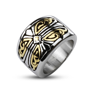 ring-mens-stainless-steel-gold-IP-duo-tone-accented-royal-cross-band