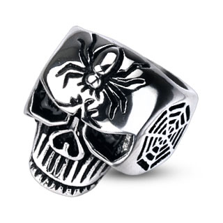 ring-mens-stainless-steel-spider-web-skull-cast-