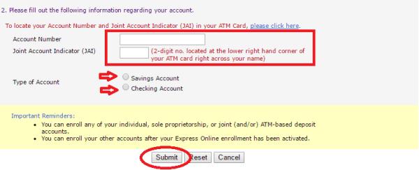 BPI-express-online-enrollment-account-information