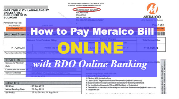 How to Pay your Meralco Bill Online with BDO Online Banking