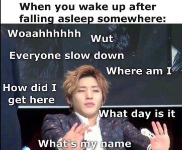 jongup b.a.p waking up sleep confusion