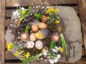 eggs nest easter flowers
