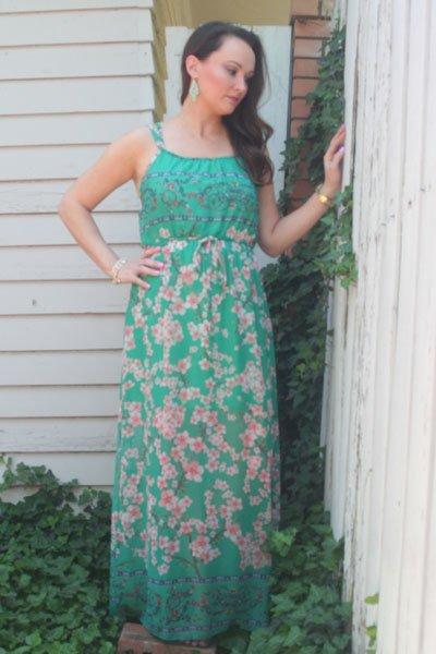 Floral Mint Maxi Dress