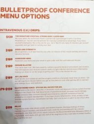 IV drips menu