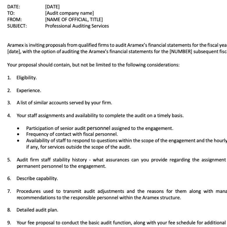 Aramex Request For Proposal Professional Writing