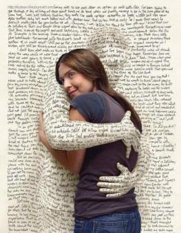 Woman being embraced by words