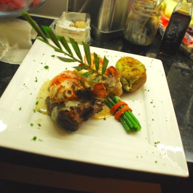 Surf and Turf with stuffed lobster