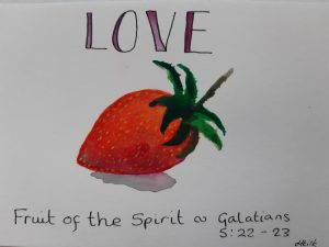 Love Postcard based on Galatians 5 verses 22-23- A strawberry - The Fruit of the Spirit - By Yours faithfully Hannah Kirk