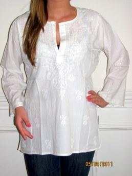 Womens Tunics White Cotton