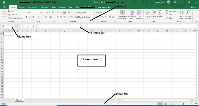 screen element of m.s excel in hindi