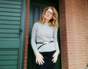 grey sweater and pencil skirt