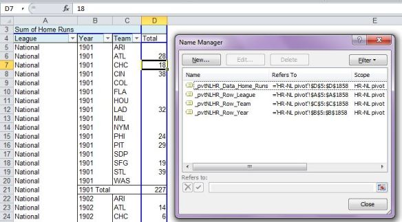 Create Pivot Table Named Ranges - Name Manager 1