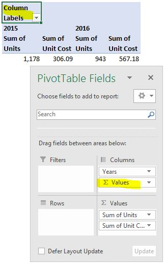 Values Field Column Labels