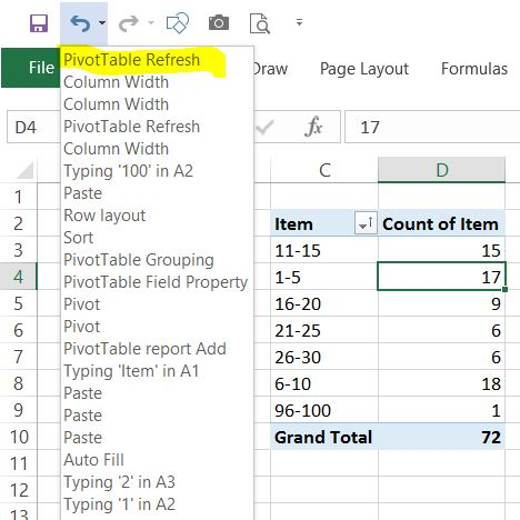 pivot table unrefresh