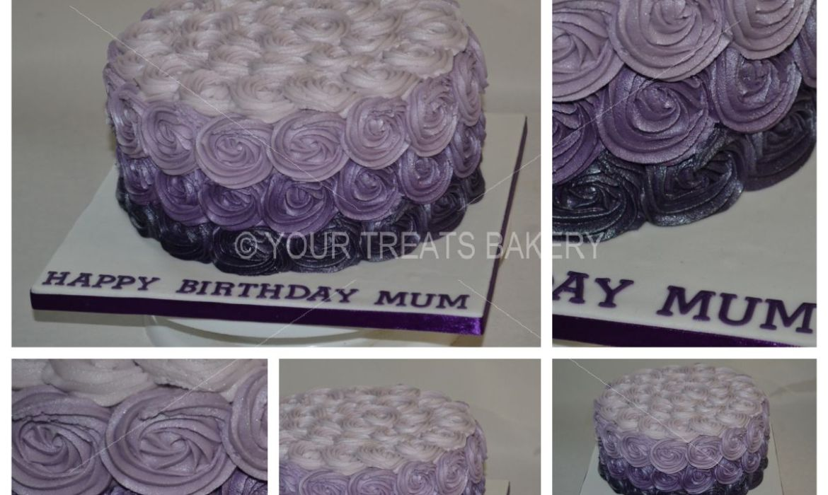 Purple Rose Swirls Cake