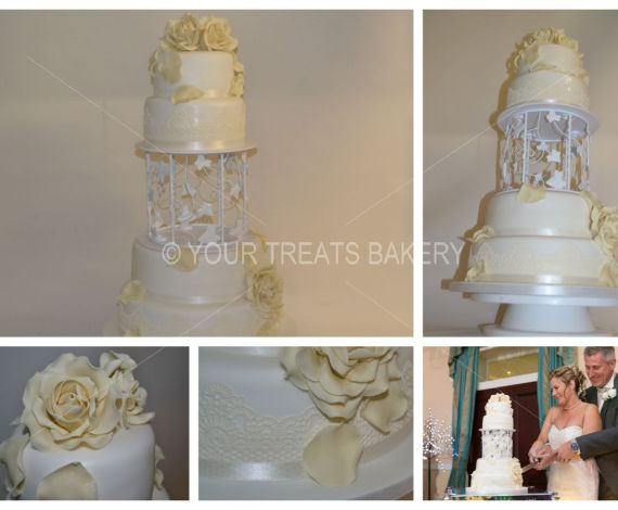 The Fallen Ivory Rose Wedding Cake
