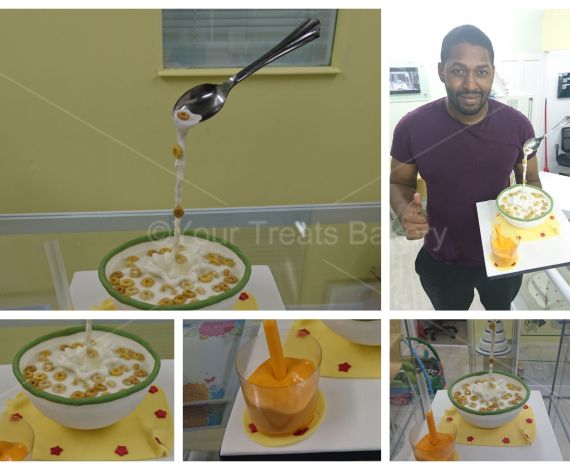 Cereal Gravity Defying Cake