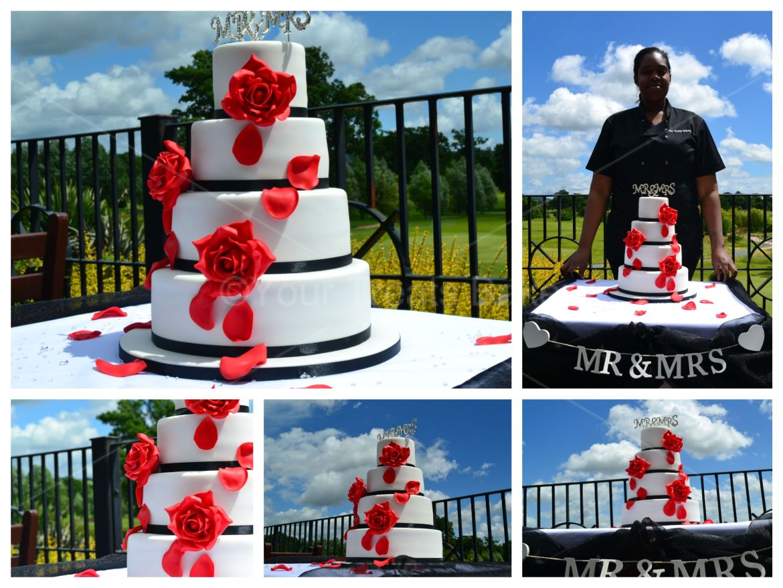 Falling Red Roses Wedding Cake