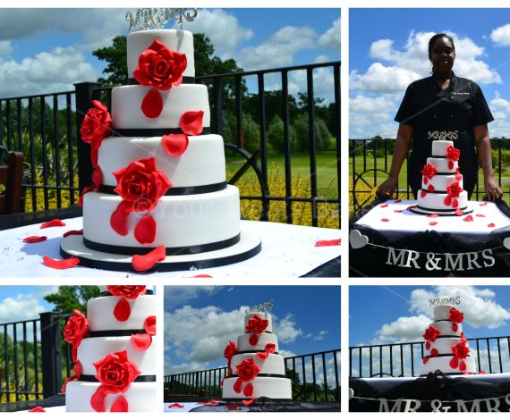 Falling Red Roses Wedding Cake