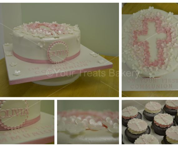 Flower Cross Christening Cake
