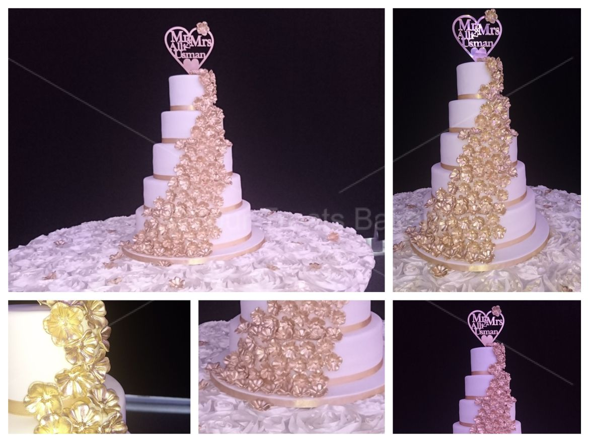 Gold Blossoms Wedding Cake