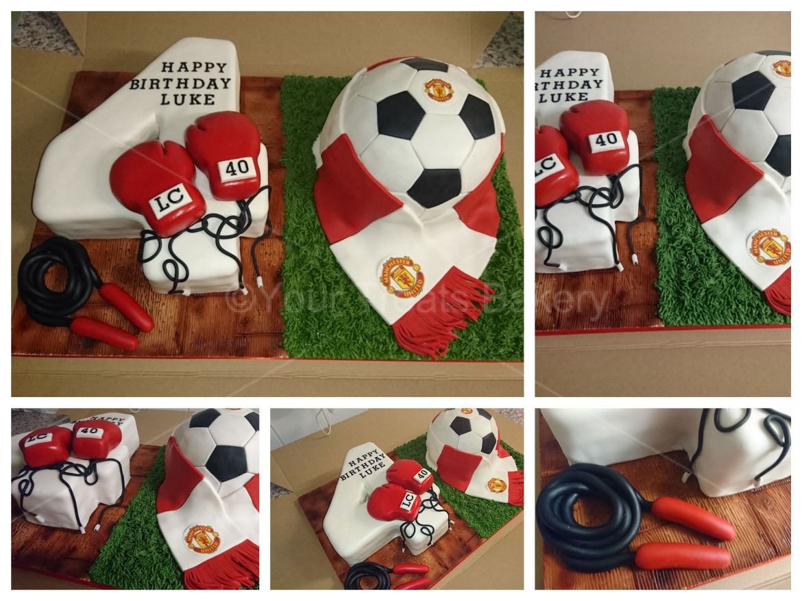 Number 40 Boxing Football Man United Cake