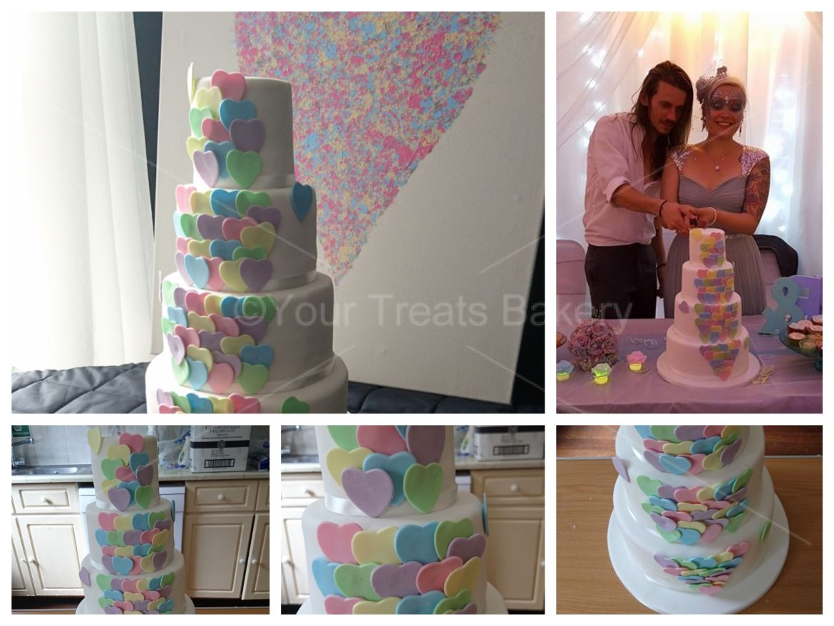 Pastel Hearts Wedding Cake