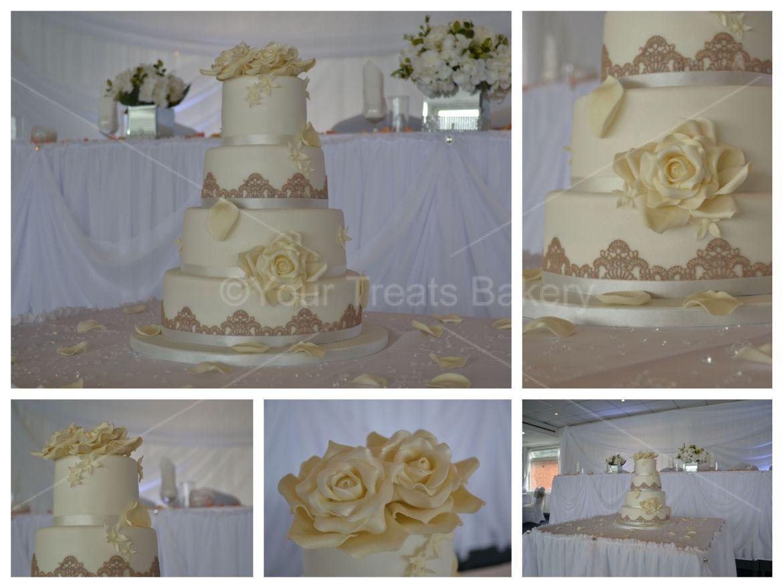 Roses Lace Wedding Cake