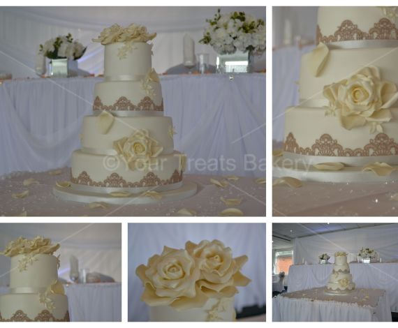 Roses Lace Wedding Cake