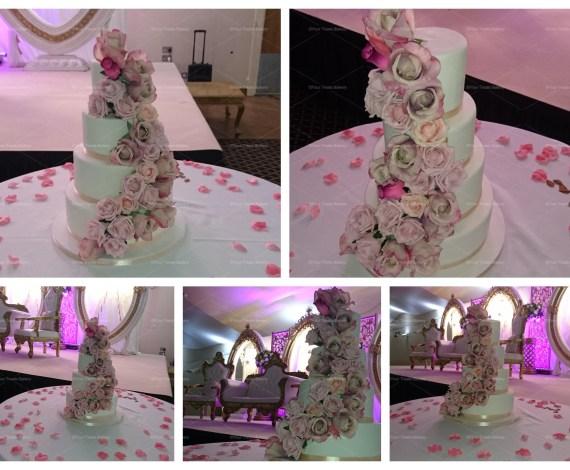 Fresh Rose Cascade Wedding Cake