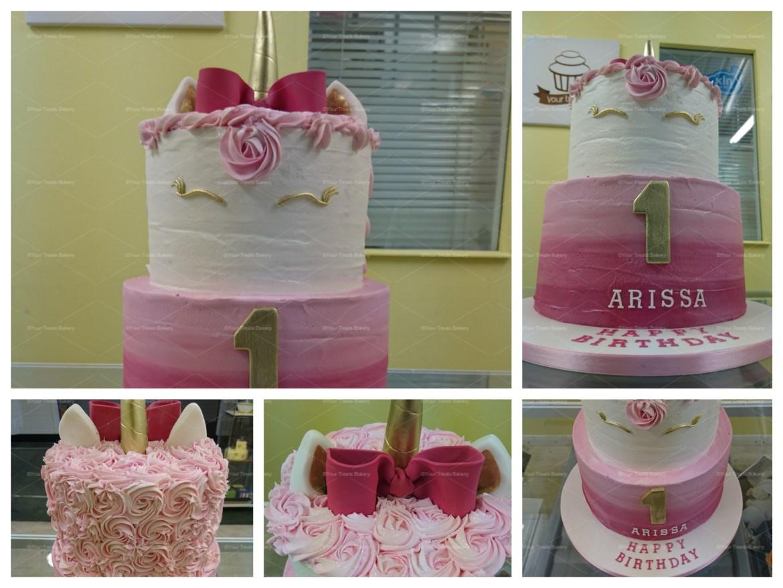 Pink Unicorn Tiered Cake