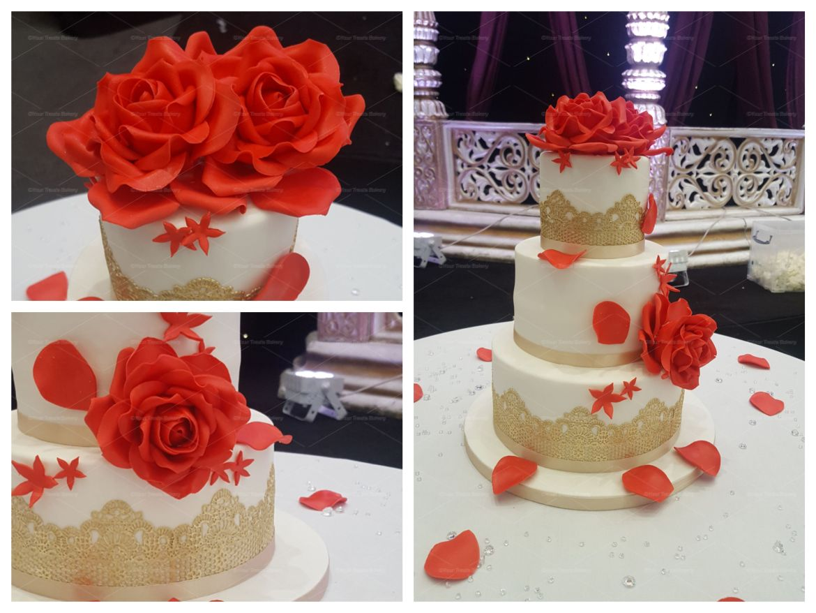 Red Rose and Brown Lace Wedding Cake