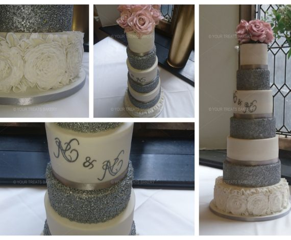 7 Tier Silver Shimmer Wedding Cake