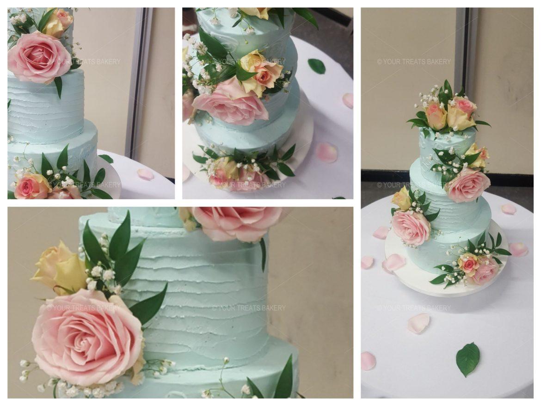 Baby Blue Distressed Wedding Cake