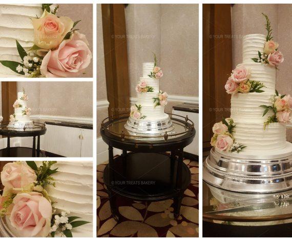 Distressed Flower Wedding Cake