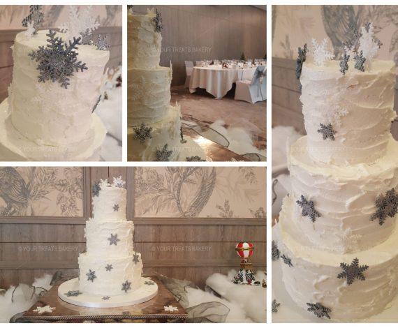 Snow Theme Wedding Cake