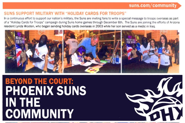 PhoenixSuns press release - Send a Soldier a Smile - Bill Salvatore, Realty Executives East Valley - 602-999-0952